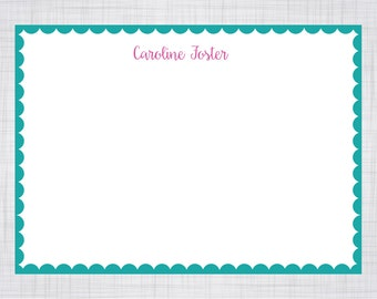 A2 Size Note Cards. Personalized Note Cards. Scallop Edge Note Cards.
