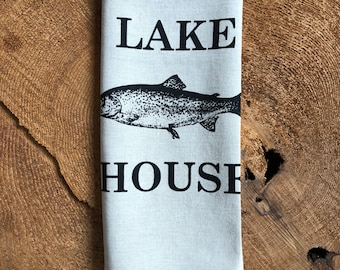 Lake House Screen  Printed 100% Linen Tea Towel, Hostess Gift, Trout
