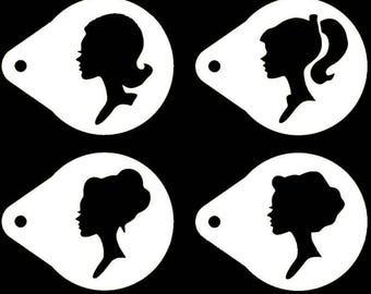 Girl Silhouette Cupcake Stencil - 4 Pcs