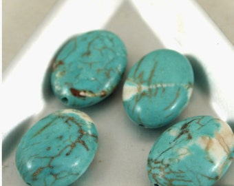 Dyed turquoise oval beads-13 X 18mm-4 pieces (MW DT SM)