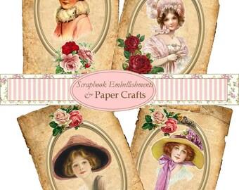 Digital Download Vinatge Ladies Images Collage Sheet Pdf