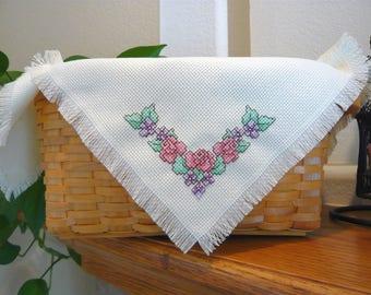 Roses & Violets cross stitched basket liner - bread cloth  - Shelf liner