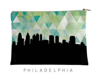 Philadelphia | Philadelphia Skyline Geometric | Philadelphia Purse | Philadelphia Skyline | Philadelphia Pouch | Philadelphia Pouch Green
