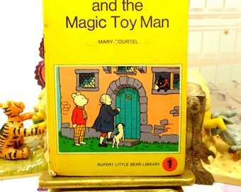 Rupert and the Magic Toy Man Mary Tourtel Little Bear Library number 1 Vintage Hardback 1970s  Rupert Book 1st Ed