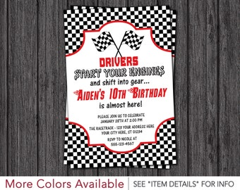 Race Car Birthday Invitation | Racing Birthday Party Invitations | Racetrack