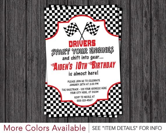 Race Car Birthday Invitation Racing Birthday Party