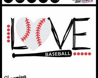 Love Baseball SVG, Love Baseball SVG Cut File, SVG Baseball, Baseball Love svg, silhouette cameo svg cut files, cricut svg cut files