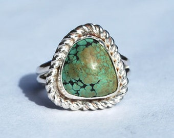 Spiderweb Turquoise Ring - Native American Ring - Southwestern Ring - Sterling Silver Ring - Size 7.5 Ring - Genuine Turquoise Ring