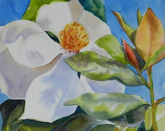 Southern Flowers Magnolia Bloom Blossom, Home Wall Decor Watercolor Art on Board Original Floral Painting Bedroom Bookshelf Nook