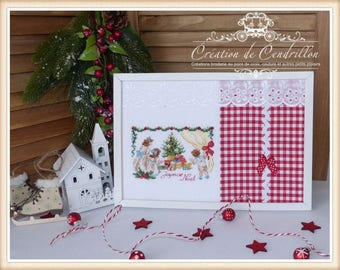 Embroidered Painting, Christmas Table, Cross Stitch Embroidery
