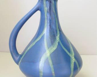 Vintage,Hungarian Ceramic blueVase,Jug Handpainted