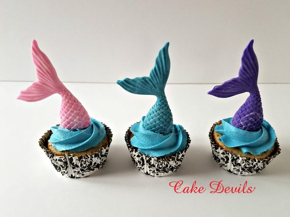 Mermaid Cupcake Toppers Fondant Mermaid Tails Under the Sea