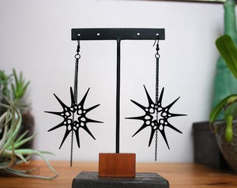 Black Star Earrings - Atomic Jewelry - Sea Urchin Jewelry - Mid Century Modern Earrings - Space Age Jewelry - Spike Earrings - Punk Jewelry