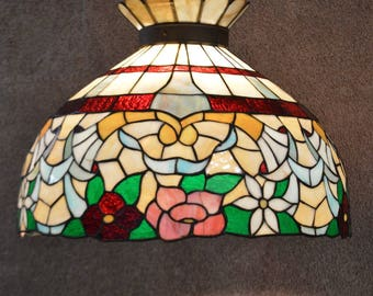 Vintage Large Floral Stained Glass Hanging Light