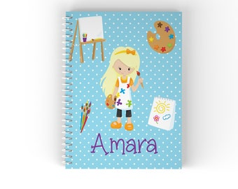 Artist Personalized Notebook - Little Artist Blue Polka Dot Paint Brushes Easel with Name, Customized Spiral Notebook Back to School