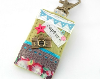 camera bag charm, photographers gift, photography gifts, camera accessories, capture the moment, hand sewn camera charm, pretty purse charm