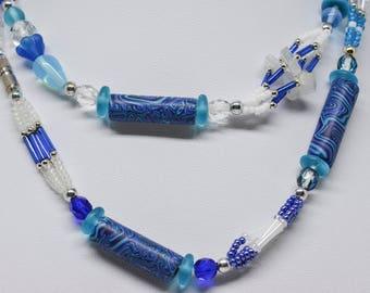 Stunning blue tone beaded necklace
