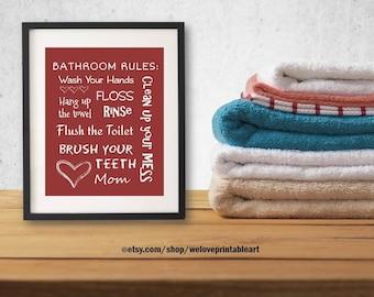 Kids Bathroom Rules Art Decor Bathroom Artwork Printable Art Print Instant Download Bathroom Wall Quote Sign