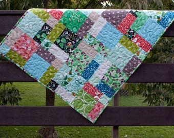 hello pilgrim baby quilt or wall hanging // nature quilt in colorful shades // READY TO SHIP