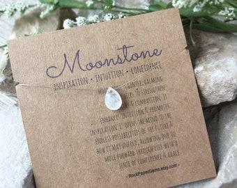 Rainbow Moonstone Necklace - Floating Gemstone Barely There Necklace, Healing Stone Necklace, Tiny Necklace, Simple Necklace Dainty Necklace