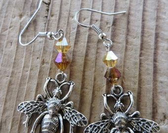 Silver Wasp Bee and Crystal Dangling Charm Earrings