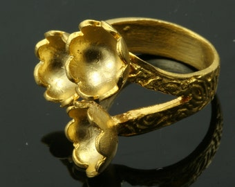 1 pc  Gold plated Adjustable Brass ring 27 mm with 9 - 9 - 9 mm base settin 543