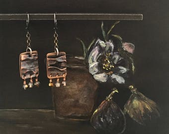 Oxidized Sterling Silver, Patinated Copper, Bronze and Swarovski Crystal Earrings