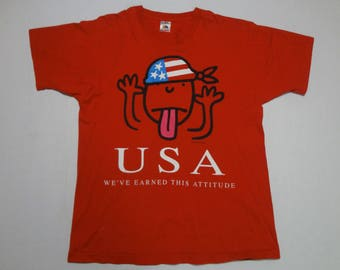 USA We've Earned This Attitude T-Shirt Vintage 1990s L