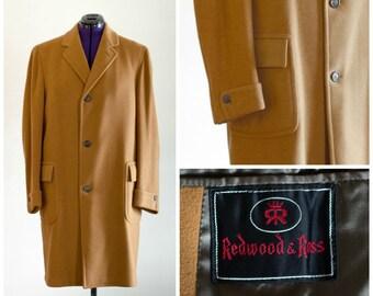 1960s men's dark camel colored wool overcoat