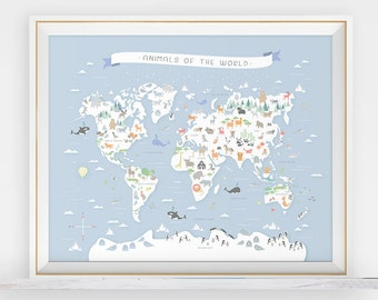 Animal world map instant download map nursery art my first animal world map instant download map nursery art my first map map of the world world map animals around the world animal print gumiabroncs Images