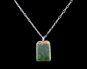 Siberian Jade Pendant - natural stone, dark green, copper electroformed bail, small, lightweight, delicate