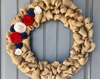 Handmade, Red, White and Blue, 4th of July, Summer Burlap Bubble Wreath