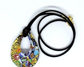 Murano glass pendant, necklace glass handmade, multicolor murrine, made in Italy, original idea gift love, anniversary, friendship