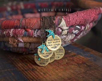 She Wore Her Scars Like Wings Necklace   Hand-stamped Brass Pendant Jewelry Bird Sparrow Inspirational Recovery Support Gifts for Her