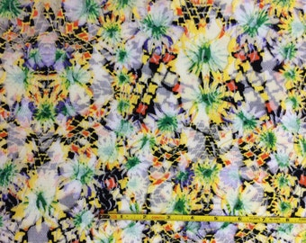 New! Beautiful stretch lace  knit fabric 1 yard pretty bright floral