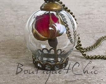 Rose necklace, real rose, flower necklace