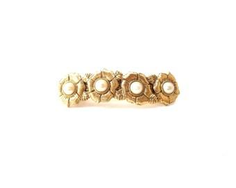 1928 der Firma Vintage Gold-Ton Metall & Faux Perle Cabochon Blumen/Blume Haarspange / Haarspange / Haar-Accessoire