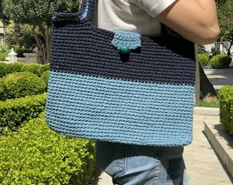 Blue Crochet Tote Bag, Crochet Beach Bag, Bohemian Crochet Bag, Hand Made Bag