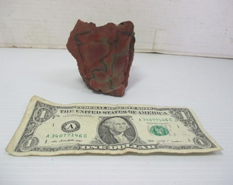 "Petrified Wood Rock Paperweight  3"" x 3"" - Red with Black Markings Circles"