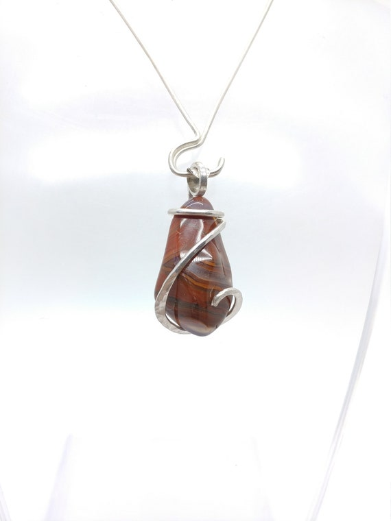 Condor Agate Pendant | Carnelian Agate Pendant | Sterling Silver Pendant | Natural Stone Necklace | Gift for Mom | Red Agate Pendant