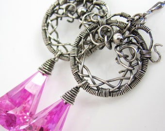The Pink Lantern Earrings - Pink Topaz from Wrapped Silver Hoops