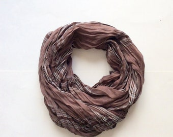 Mens scarf, light brown scarf, cotton scarf, women scarf, mens scarf, light summer scarf, beige plaid scarf, striped scarf, mens scarf