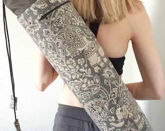 NEW DESIGN * Charcoal Elephant Print, Large Yoga Mat Bag with zipped pocket