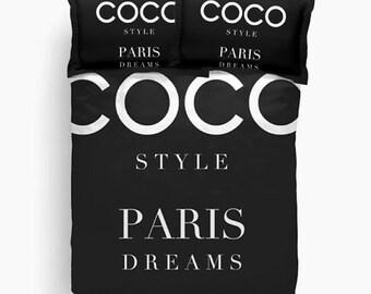 Paris Duvet Cover with Optional Shams, Dorm, Girls Bedding, Teen Girl Room Decor, Girls Bedroom Decor, Black and White, Twin, Queen, King