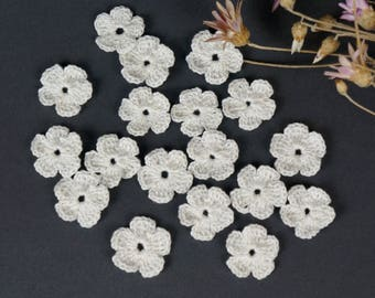 Crochet flower Set 12 pcs Knitted flower Mini flower  Flower application motif Scrapbooking flower Decorate  flower Cloth accessory