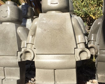 Extra large concrete toy robot lego mold man garden gnome on garden spikes- mini fig