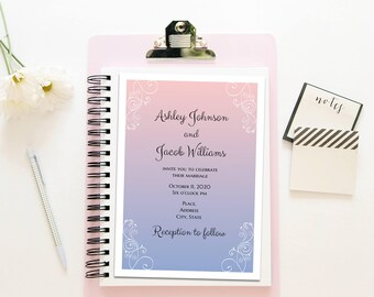 Rose quartz and serenity blue Classic wedding invitations printable Romantic wedding invitation template Winter wedding Instant download T29