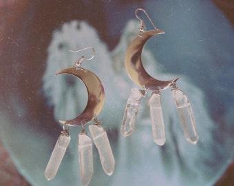 Boho Moon Jewelry - Silver Moons, Silver Moon Earrings