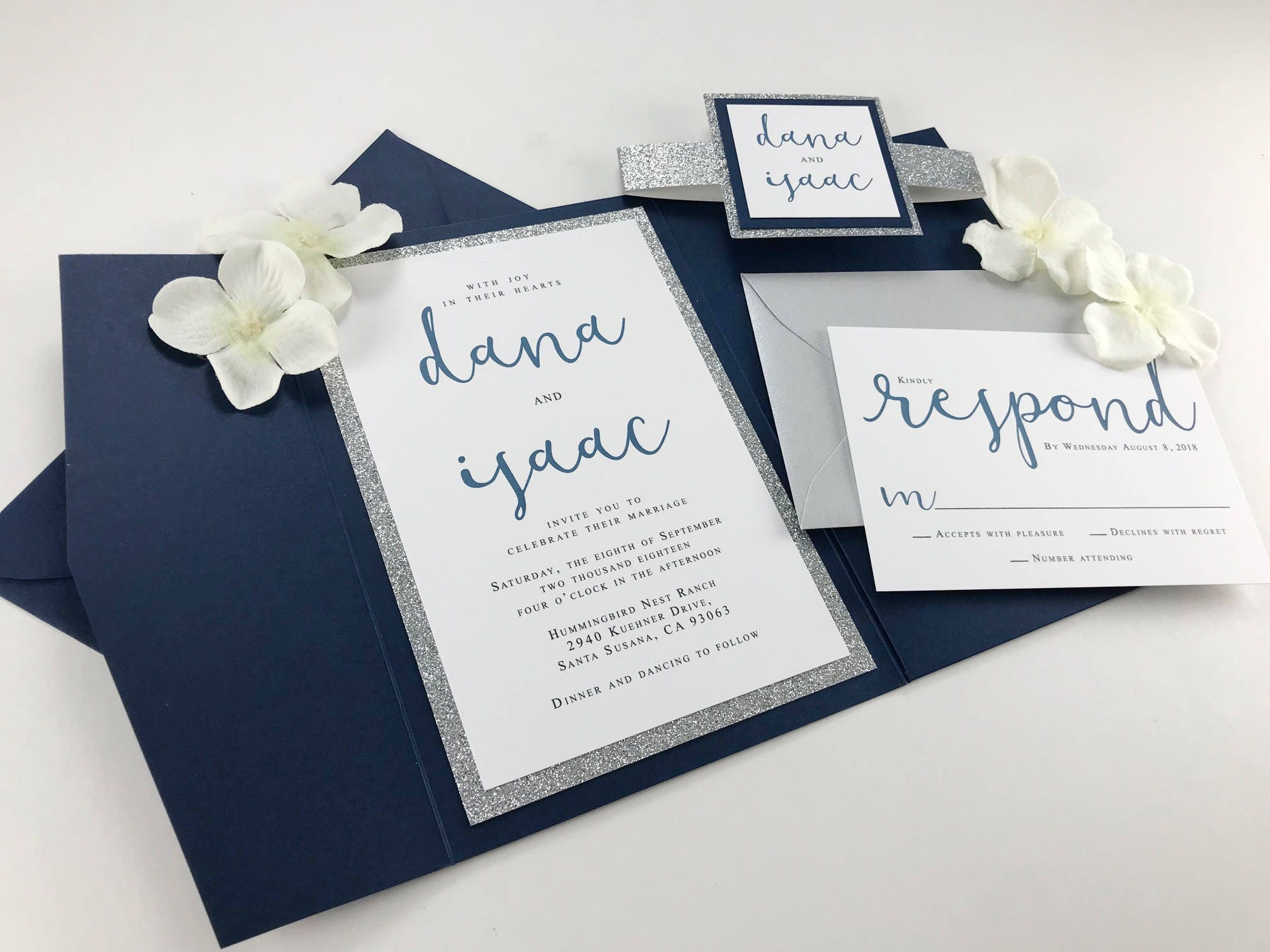 Navy Blue and SILVER GLITTER Wedding Invitation Sets, Modern Calligraphy Font with Pocket Folder and Band, Envelopes Included, Dark Blue