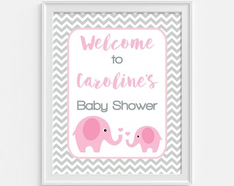 Pink Elephant Baby Shower Welcome Sign, Personalized Baby Shower Welcome Sign, Grey Chevron, DIY PRINTABLE
